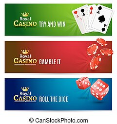 Casino banner gambling set. Poker roulette. Chips, dice and cards for casino promotion
