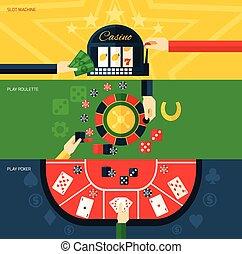 Casino Banner Set - Casino flat horizontal banner set with...