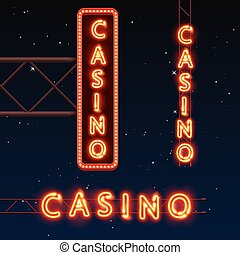 Casino banner text, City signboard.