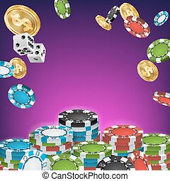 Casino Banner Vector. Online Poker Gambling Casino Banner Sign. Bright Chips, Dollar Coins. Jackpot Casino Billboard, Signage, Marketing Luxury Poster Illustration.