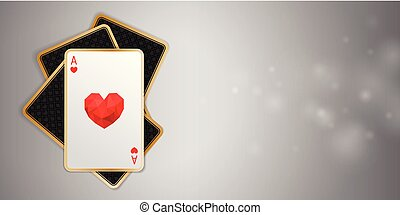 Casino banner with one heart ace in four playing cards. Winning poker hand