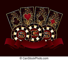 Casino banner with poker cards and chips, vector