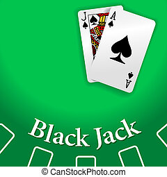 Casino Black Jack Table playing cards