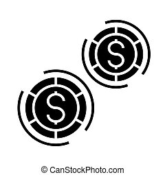 casino - board games icon, vector illustration, black sign on isolated background