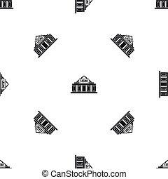 Casino building pattern seamless black