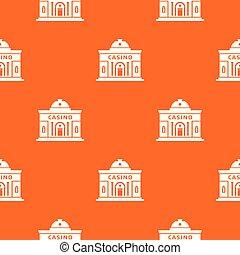 Casino building pattern vector orange
