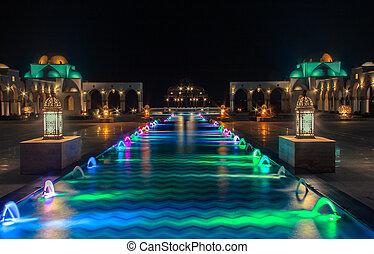 casino, buitenkant, egyptisch