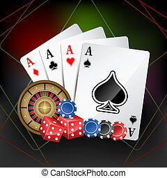 Casino Card - illustration of playing card with poker and...