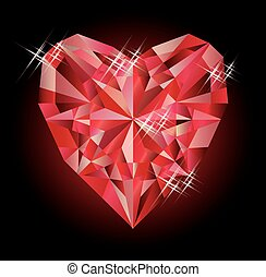 Casino card with ruby hearts poker