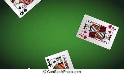 Casino cards falling down HD animation