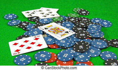 casino, cards falling on the chips