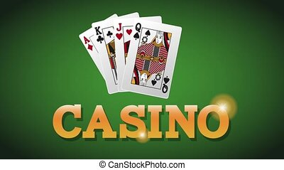 Casino cards on deck HD animation
