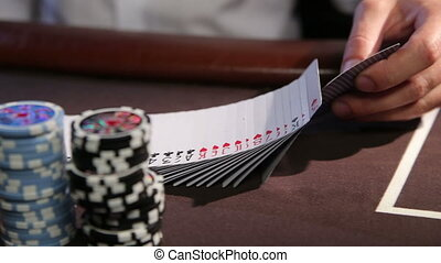 Casino. Cards. Professional dolly shot