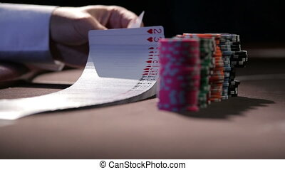 Casino. Cards. Chips. Dolly shot