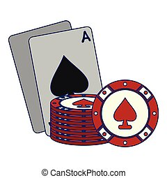 Casino cards with chips
