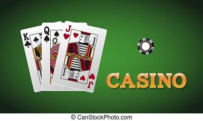Casino cards with chips HD animation