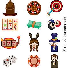 casino, caricatura, icono