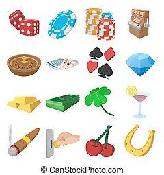 Casino cartoon icons set