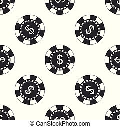 Casino chip and dollar symbol icon isolated seamless pattern on white background. Flat design. Vector Illustration