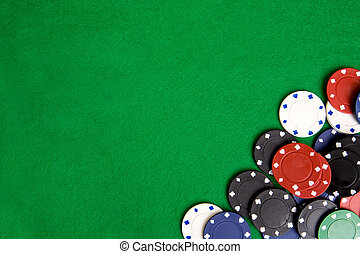 Casino Chip Background - Casino chips on a green felt - ...