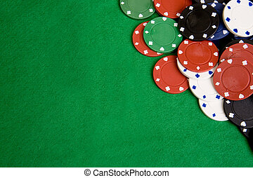 Casino Chip Background - Casino chips on a green felt -...