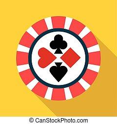 Casino chip icon, flat style