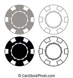 Casino chip icon outline set grey black color