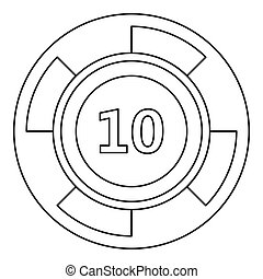 Casino chip icon, outline style