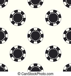Casino chip icon seamless pattern on white background. Flat design. Vector Illustration