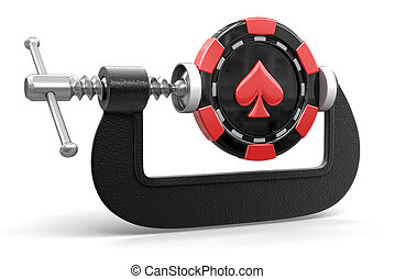 casino chip in clamp
