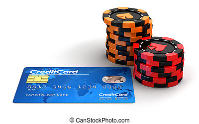 Casino chip stacks and Credit Card. Image with clipping path