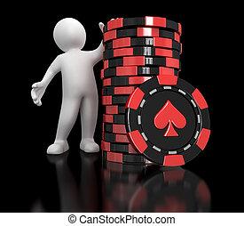Casino chip stacks and man