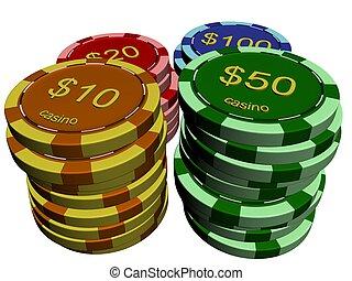 Casino chip stacks on white background