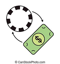 casino chip with arrows and bill dollar
