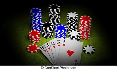 Casino chips and a royal straight flush playing cards poker hand