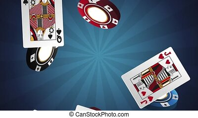 Casino chips and cards falling HD animation - Casino chips...