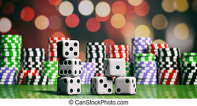 Casino chips and dice on green felt. 3d illustration