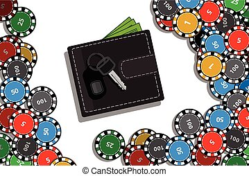 casino chips and hands with tablet computer