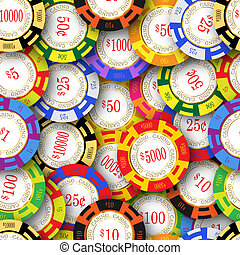 Casino Chips Background - American casino chips. Seamless...