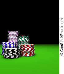 Casino Chips Background - Colored casino chips on green...