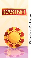 Casino chips concept banner, cartoon style