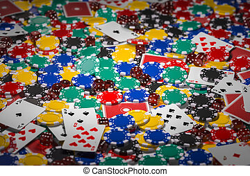 Casino chips, dice and poker cards background.