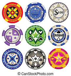 Casino Chips - easy to edit vector illustration of...