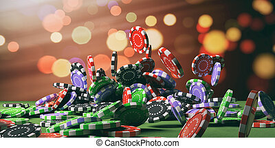 Casino chips falling on green felt. 3d illustration -...