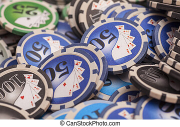 Casino chips- gambling concept