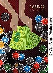 casino chips hand armful of money winnings