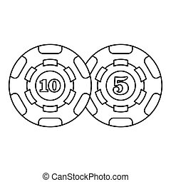Casino chips icon, outline style