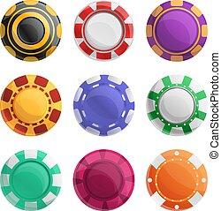 Casino chips icons set, cartoon style