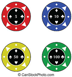Casino chips - Illustration of casino chips of different...