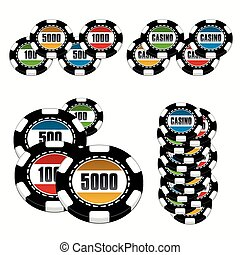 Casino Chips Illustration Set